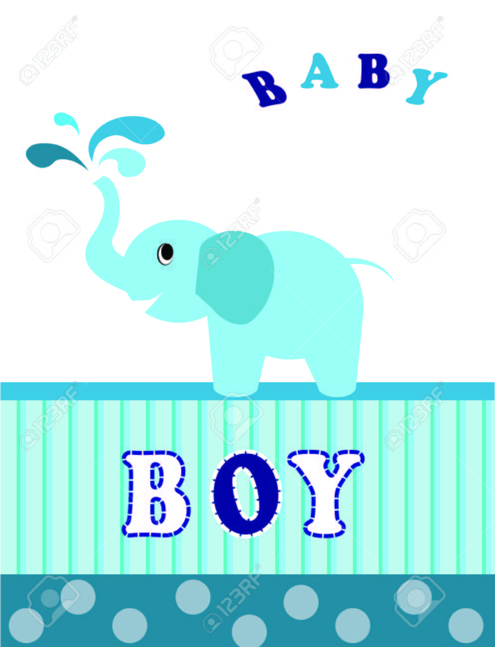 Baby Shower Invitation Card For Boy On A White Royalty Free Cliparts