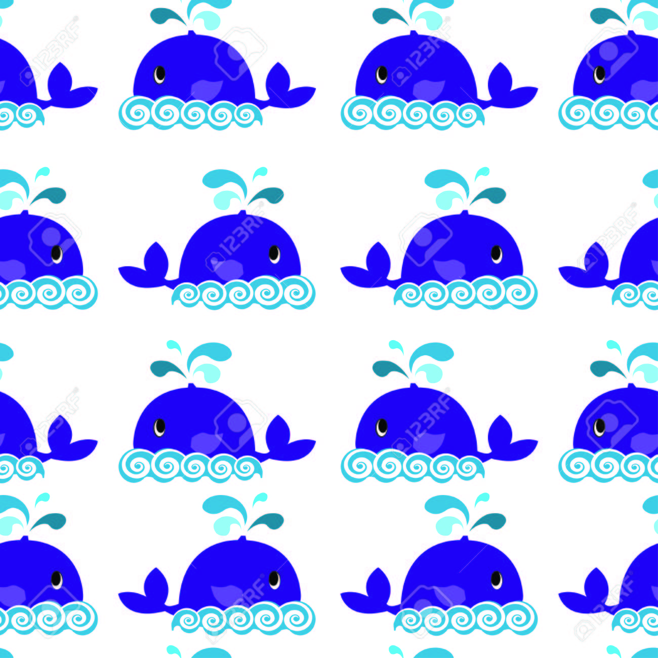 whale seamless pattern on a white background - 43088413