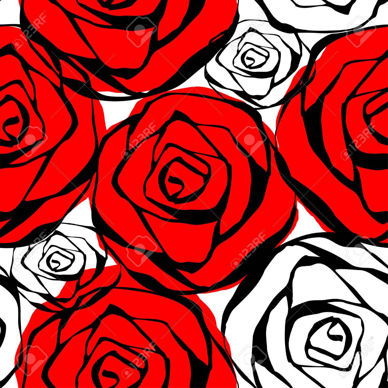 Seamless Pattern With Roses Contours Red Black And White Vector
