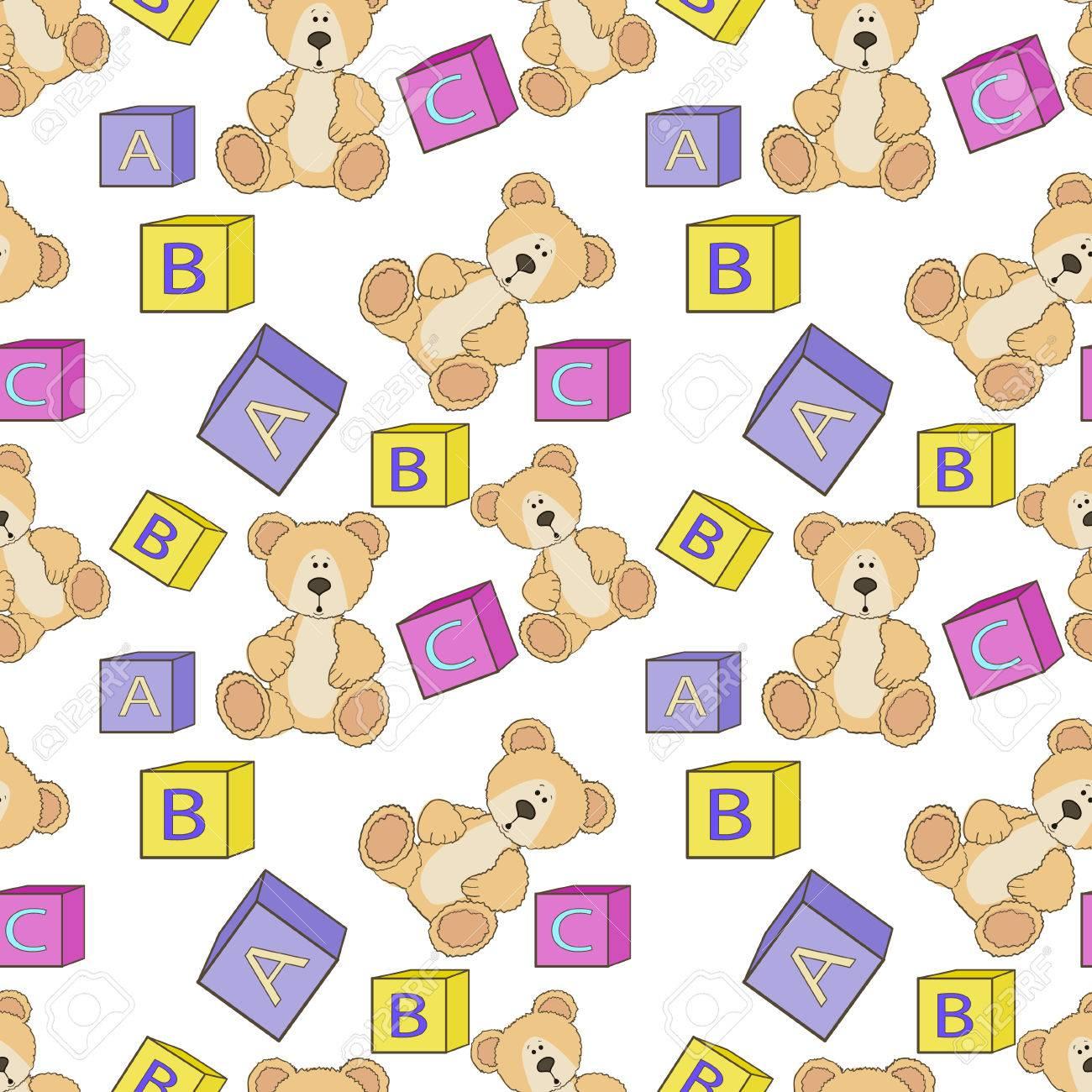 Niedliche Teddy Mit Alphabet Spielzeug Würfel Und Blöcke Nahtloses ...