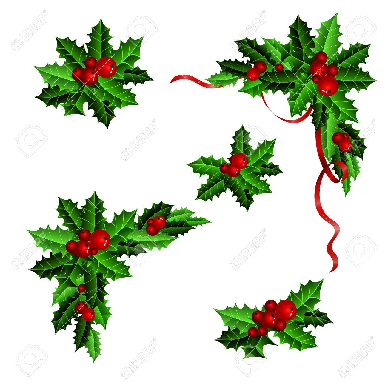Christmas Holly Clipart Free.Decorative Elements With Christmas Holly Set Isolated