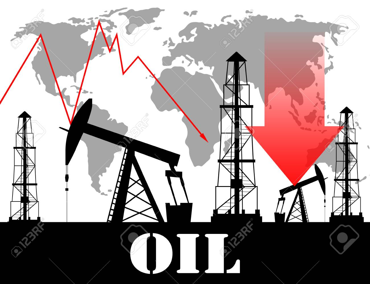 Oil price fall graph illustration oil pump icons red transparent oil price fall graph illustration oil pump icons red transparent arrow with world map stock vector gumiabroncs Choice Image