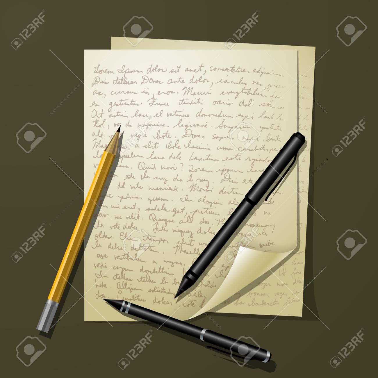 ホワイト ペーパーのペンや鉛筆をテーブルの上に複数のシートのイラスト