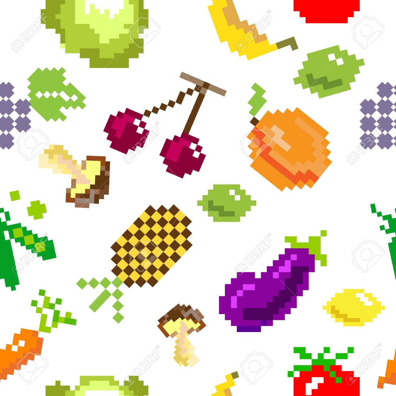 Vector Retro Frutas Juego De Píxeles Sin Costura Y El Patrón De ...