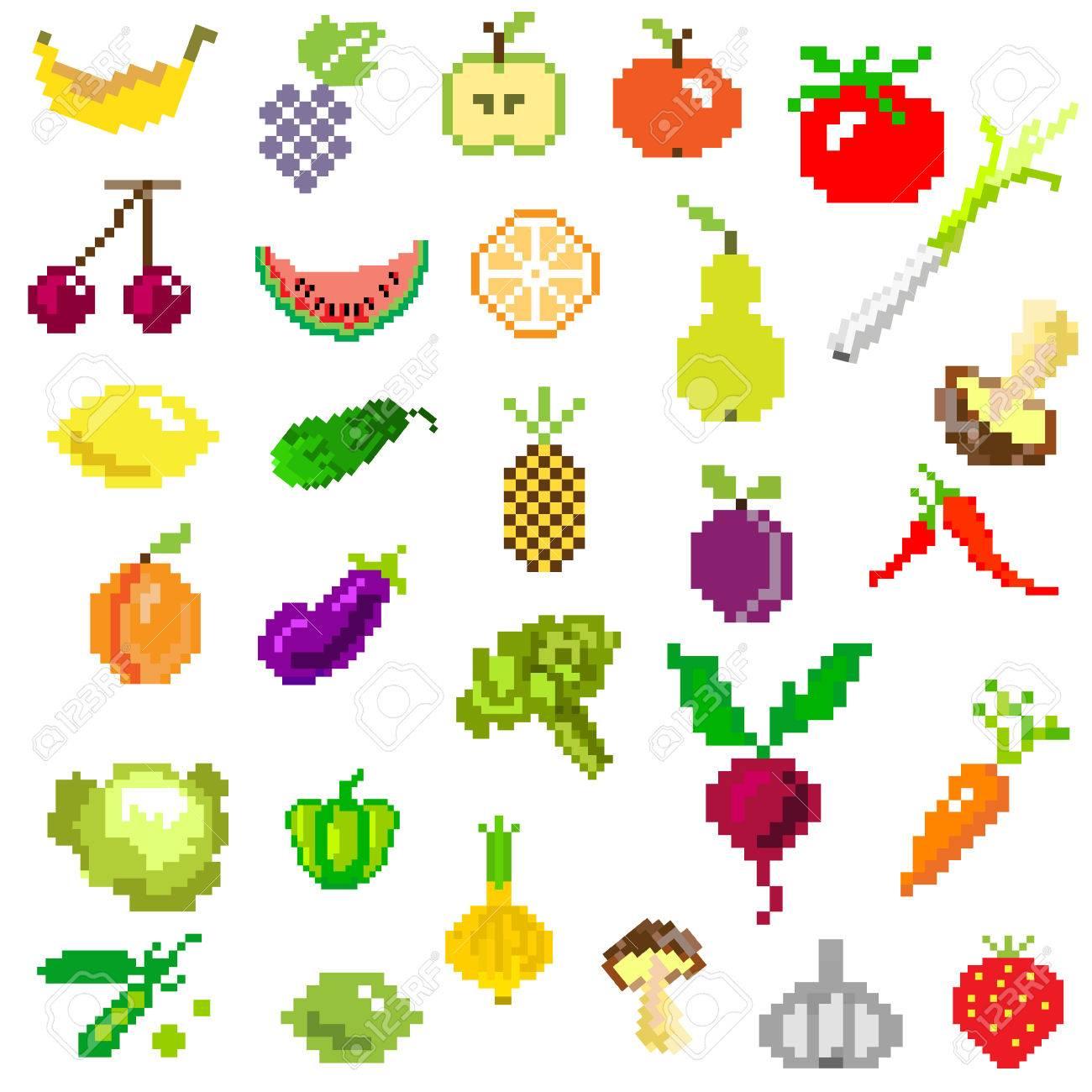 Pixel Art Fruits Et Légumes Sur Le Blanc De Jeux