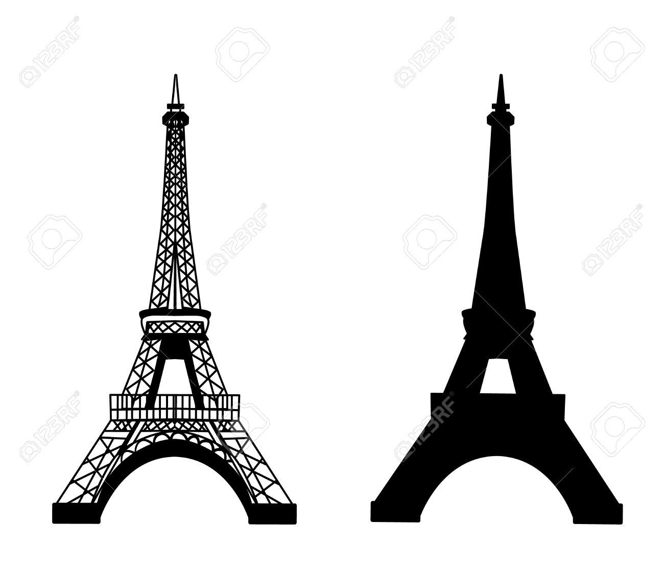 Tour Eiffel Vecteur Isole Illustration Noir Sur Blanc Ensemble Clip