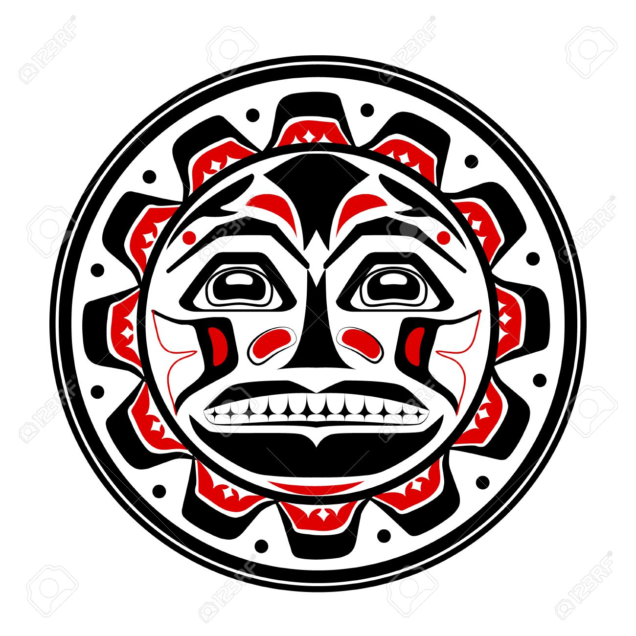 Totem pole tattoo stock photos royalty free business images vector illustration of the sun symbol modern stylization of north american and canadian native art biocorpaavc Images
