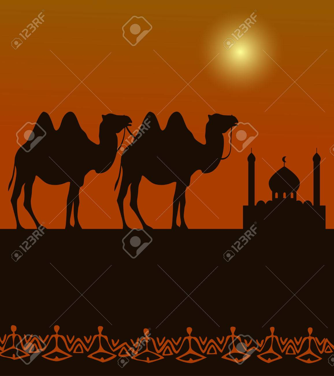 camels silhouette on the desert with middle east architecture in the distance - 53262719