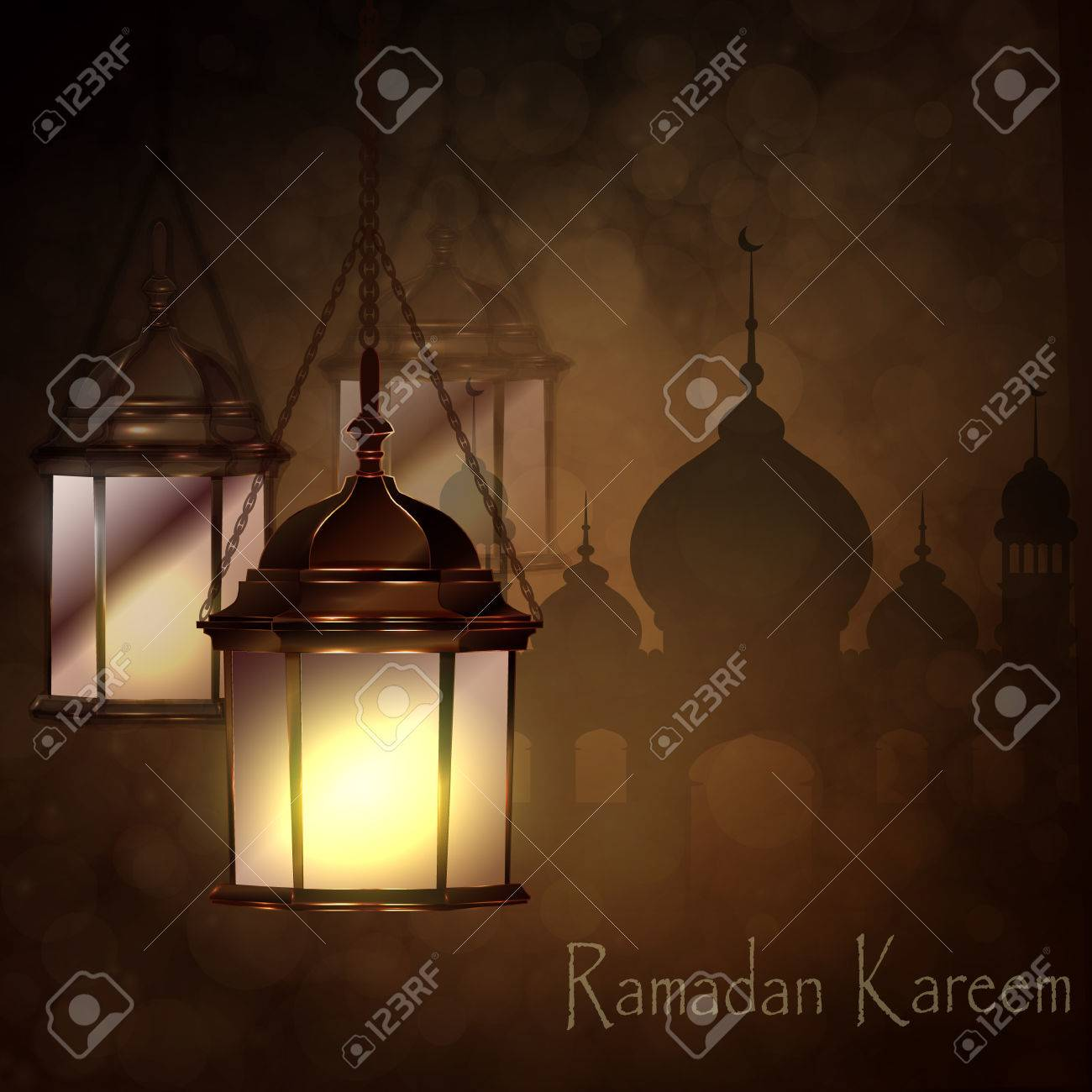 Intricate Arabic Lamps With Lights For Ramadan Kareem And Other Events On A  Bokeh Mosque Silhouette