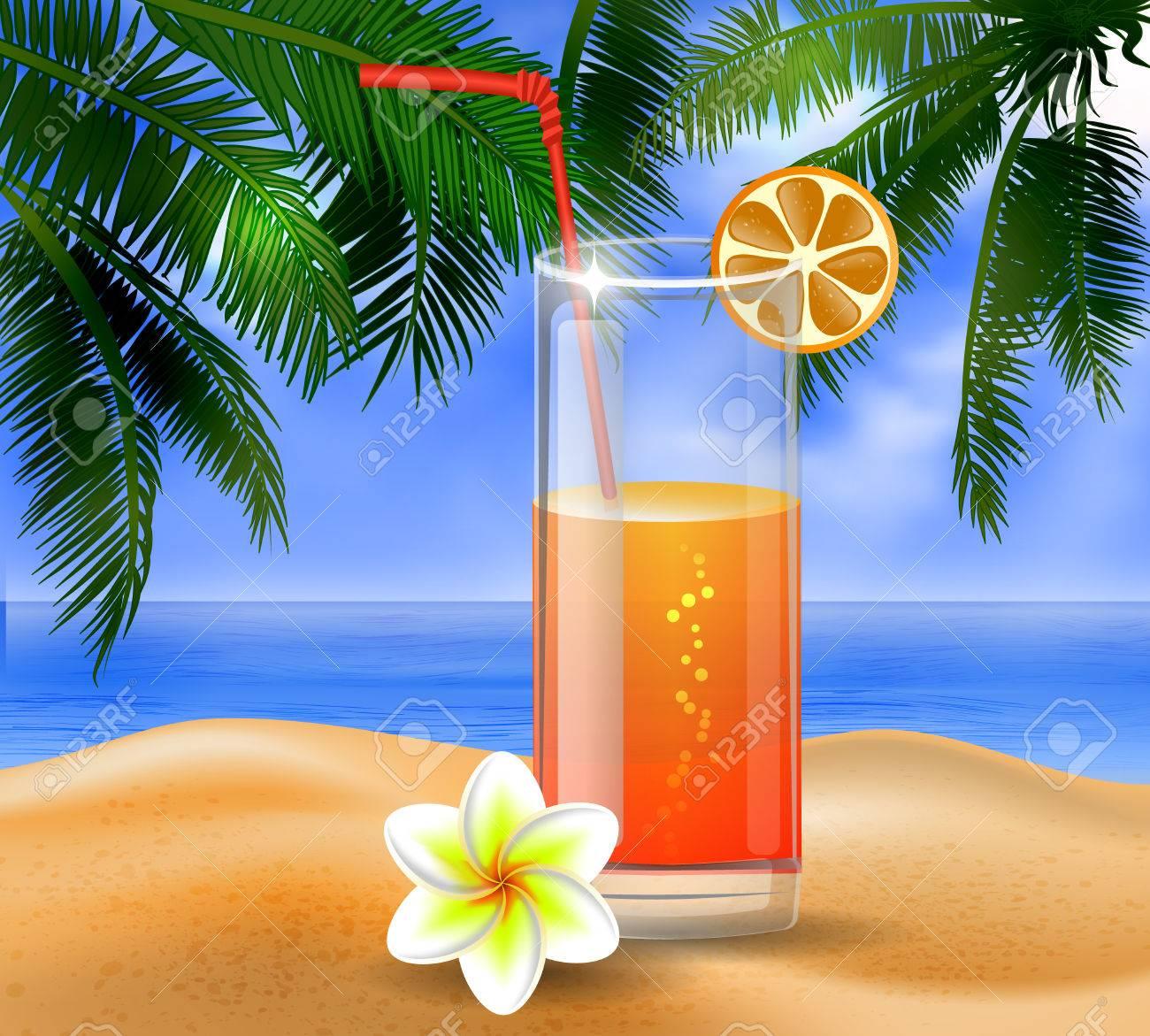 Tropischen Vektor-Hintergrund Mit Blättern Der Palmen Sommerhimmel ...