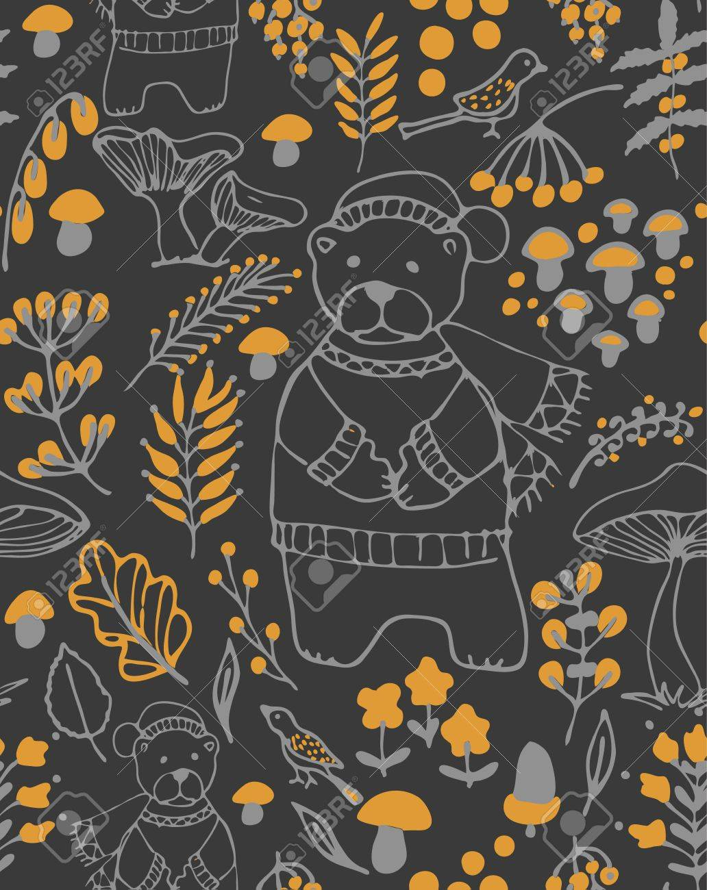 hand drawn seamless vector pattern fall themed background with