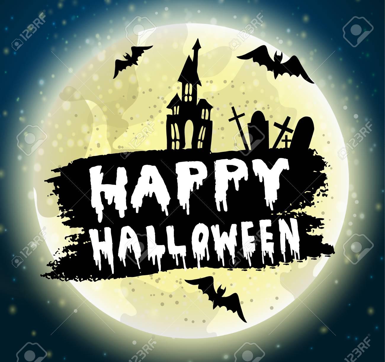 Joyeuse Calligraphie D Halloween Noir Maison Hantée Avec Des Chauves Souris Et Un Cimetière Sur Un Fond De Lune Whall