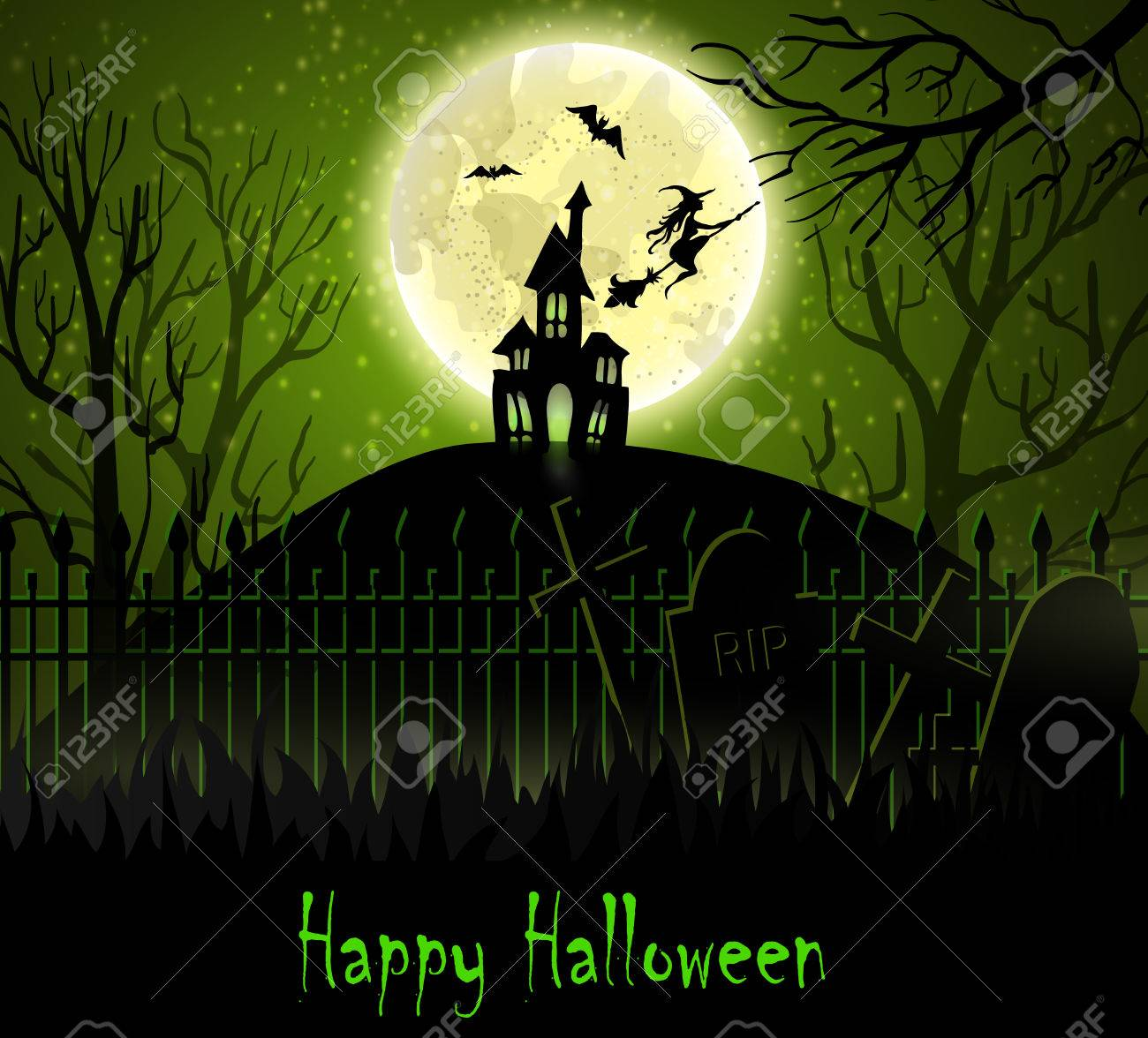 Halloween Spooky House.Halloween Spooky Background With Moon Fence Haunted House Witch
