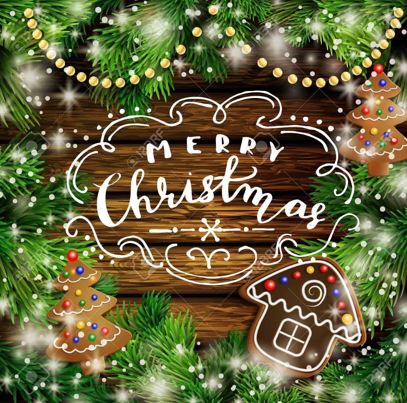 クリスマス クリスマス正月デザインの木製の背景にはガーランドとジンジャーブレッドの木と家が点灯しますベクトル図手書きのメリー クリスマス クリスマス ツリー