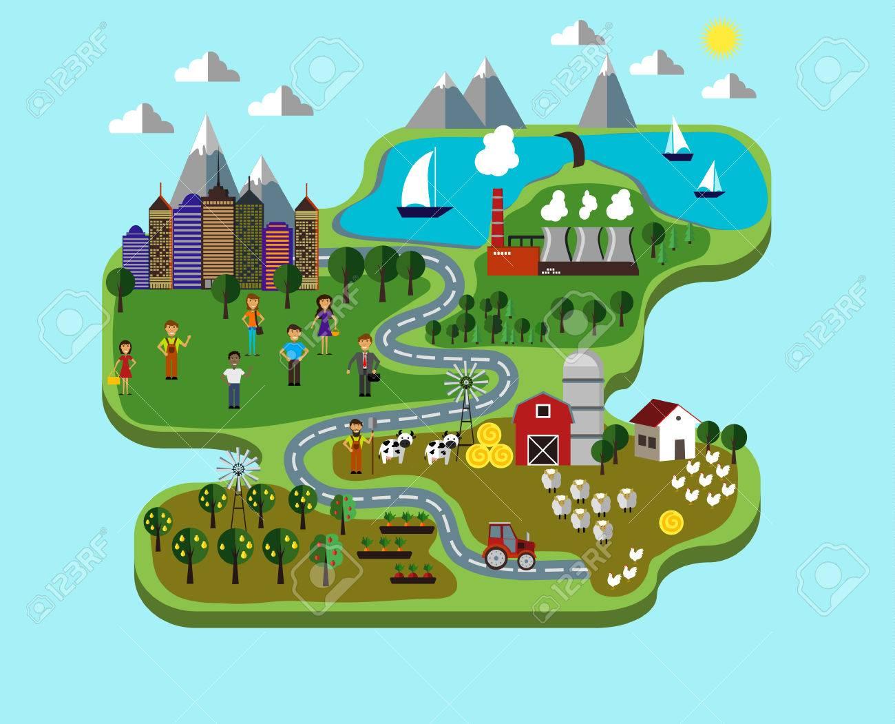 Cuidado De La Naturaleza Infografía Con La Ciudad De Granja Y Planta Para Salvar El Medio Ambiente Ilustraciones Vectoriales Clip Art Vectorizado Libre De Derechos Image 66786123