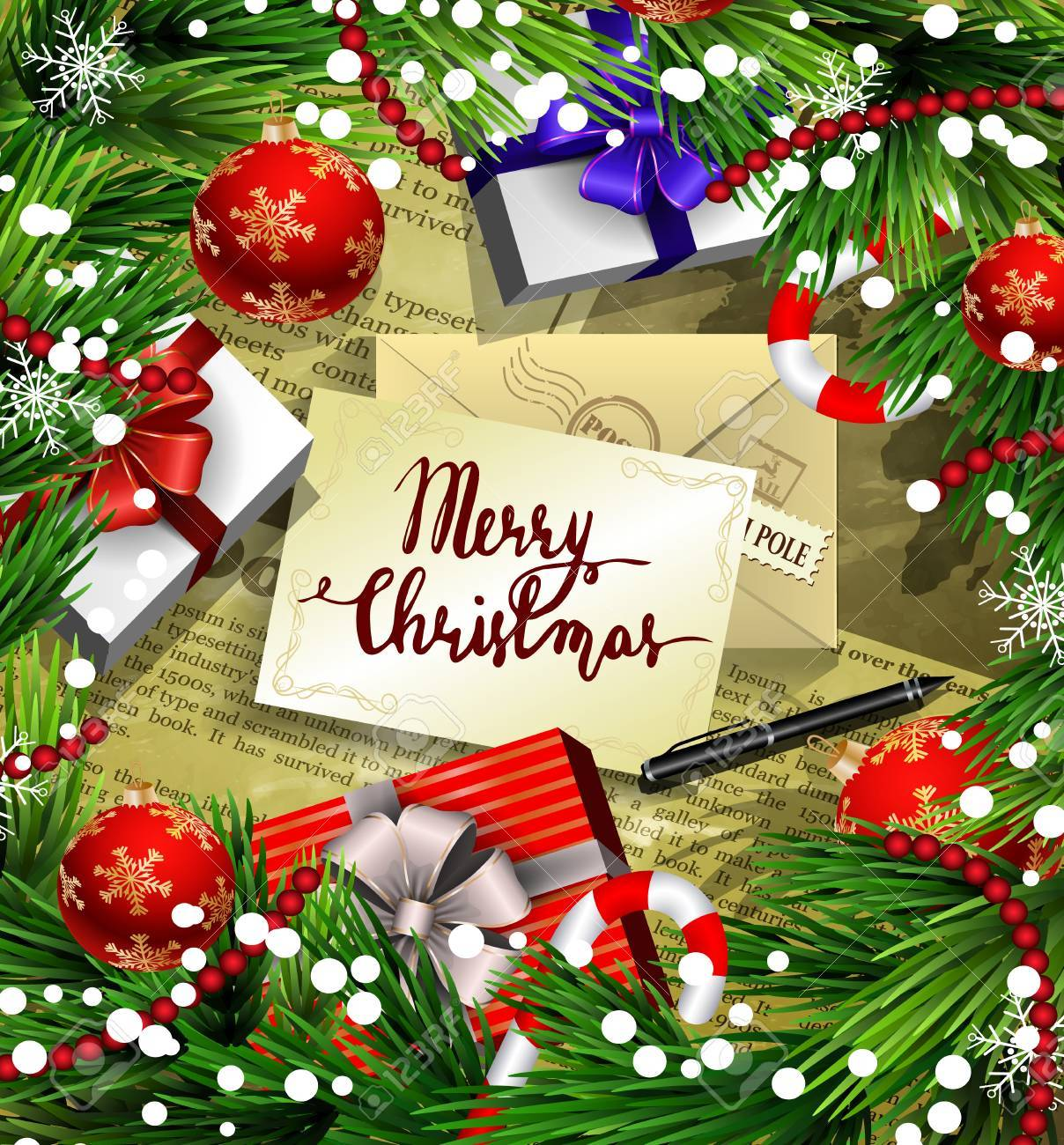 Christmas New Year Design Old News Paper Background With Christmas