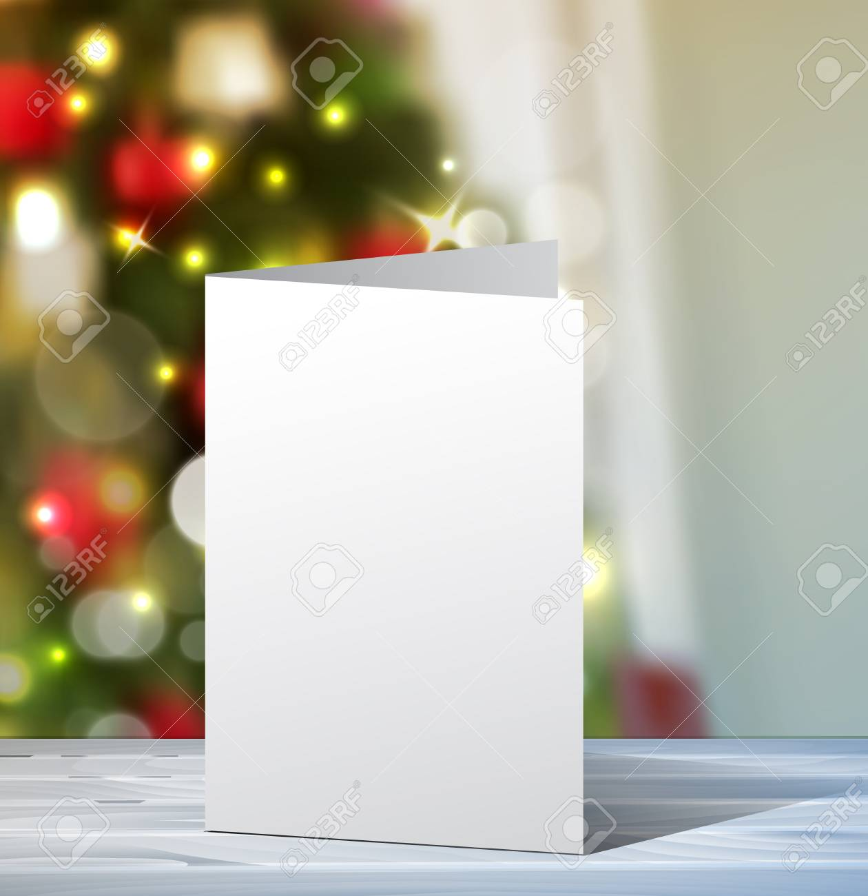 Christmas Greeting Card Mock Up Vertical Vector For Your Design Ideas On Blured Tree Background