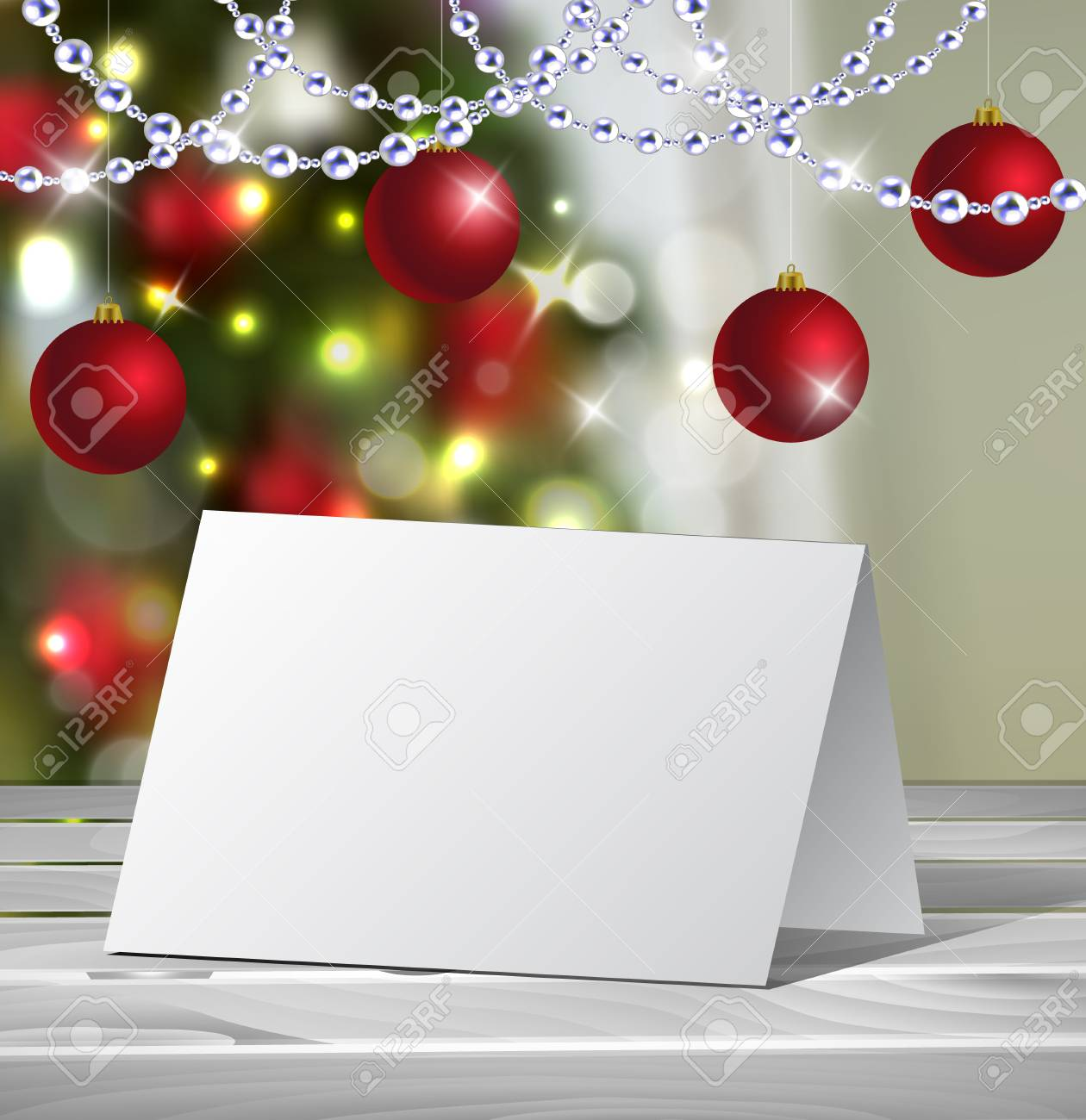 Christmas Greeting Card Mock Up Vector For Your Design Ideas