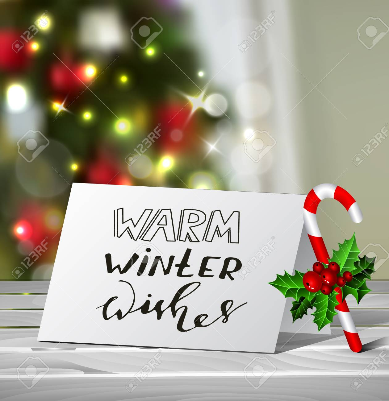 Christmas Greeting Card With Nadwritten Warm Winter Wishes Letters