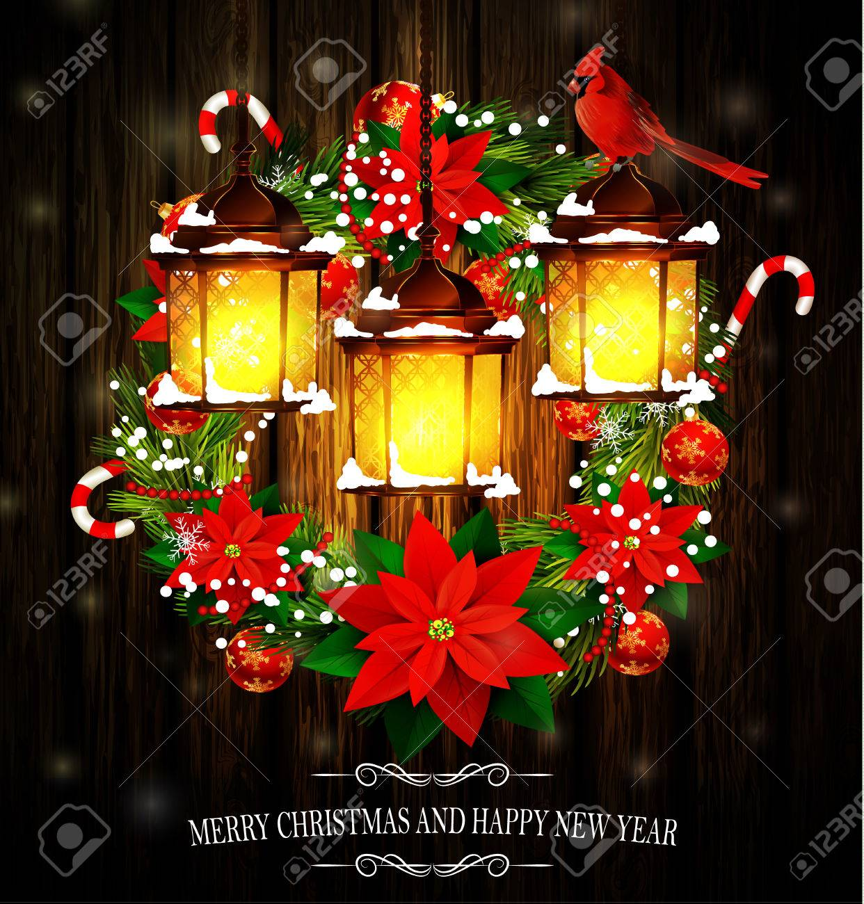 christmas decoration wreath with street lights and evergreen trees and cardinal birds on wooden background greeting