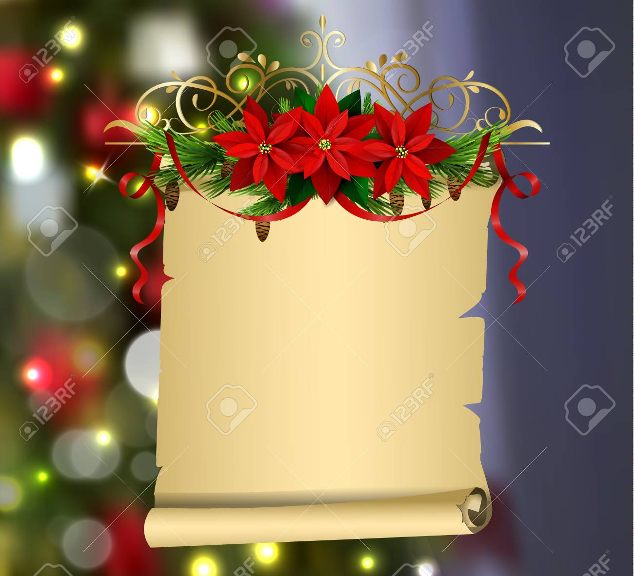 Paper Scroll With Christmas Decorations Vector For Your Design