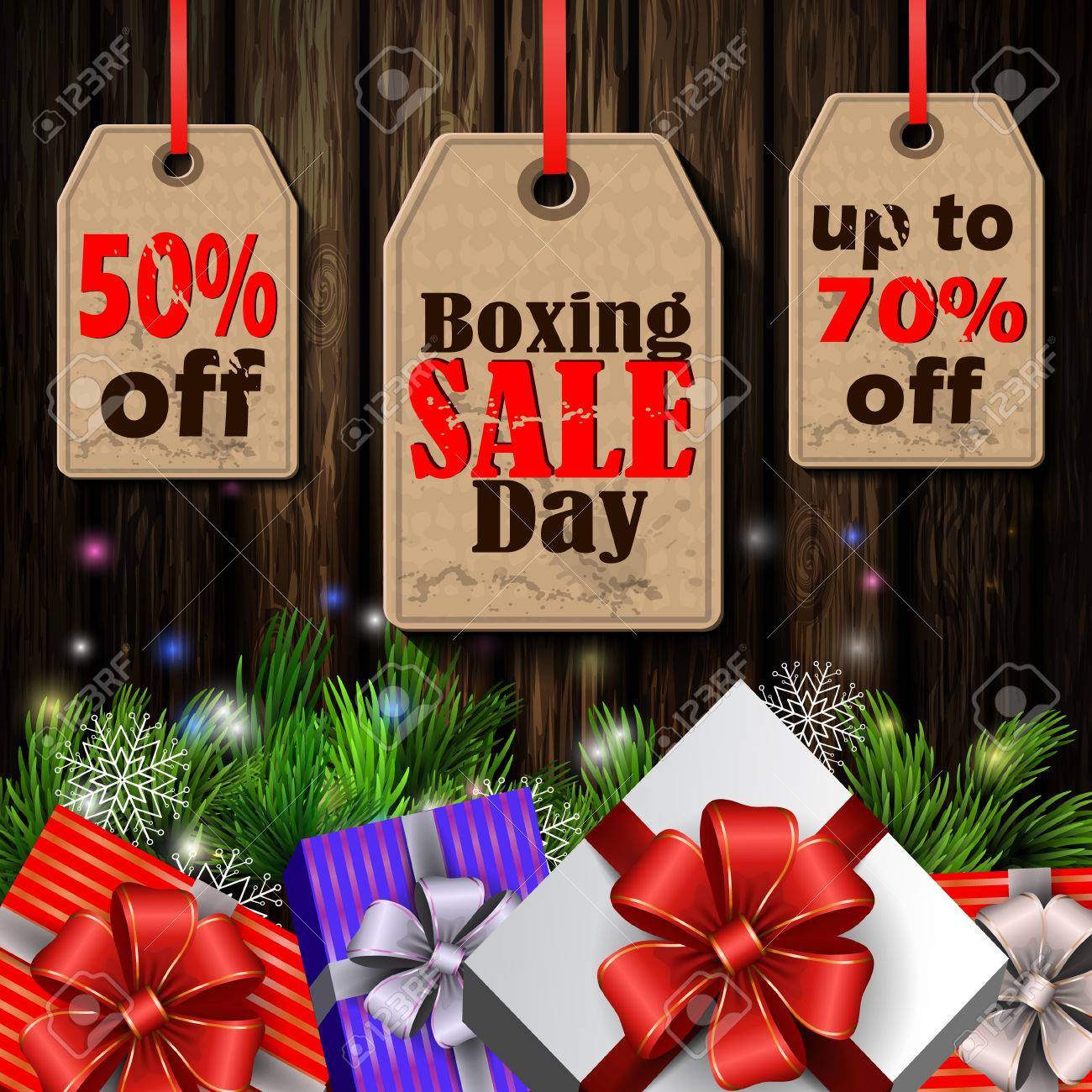 Boxing Day Sale Tags With Evergreen Trees With Christmas Gifts ...