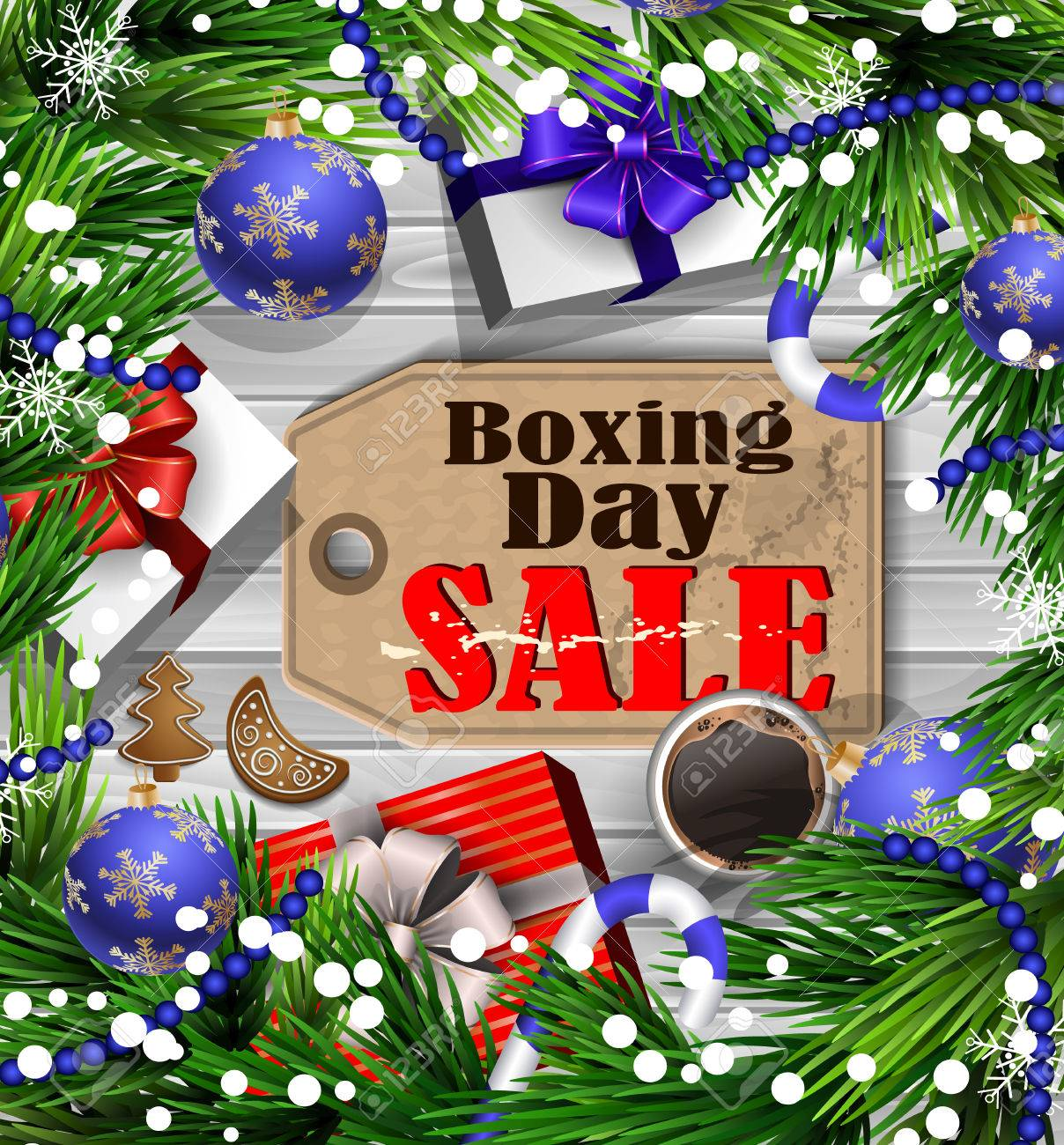 Boxing Day Sale Tag With Evergreen Trees With Christmas Gifts ...