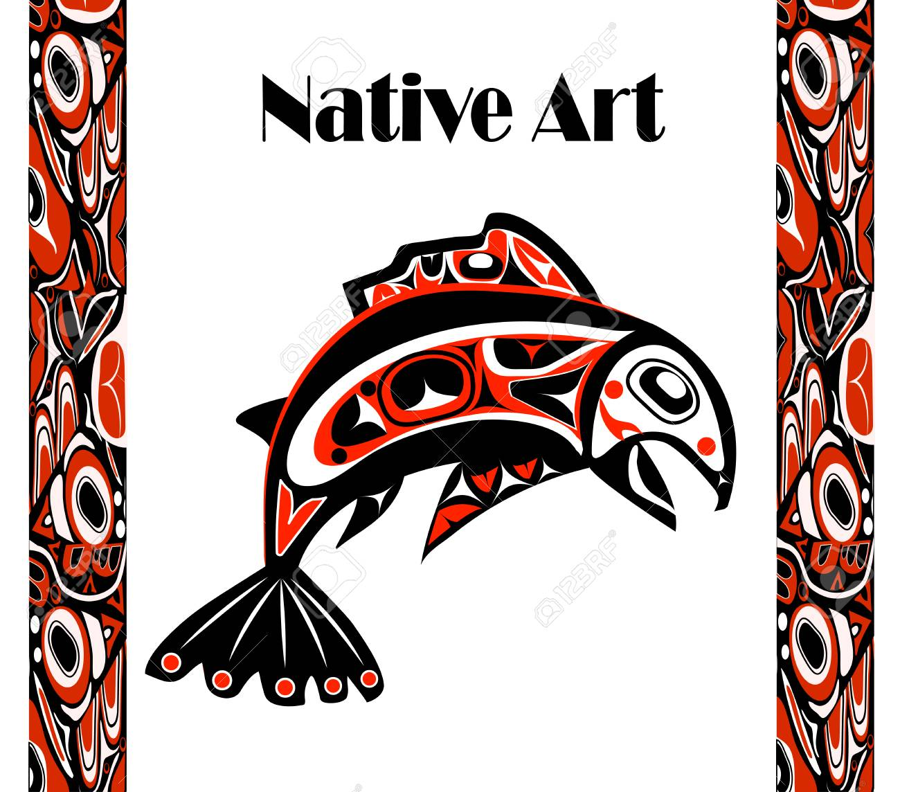 Native Salmon Vector Fish In Red On White Background With Native ...