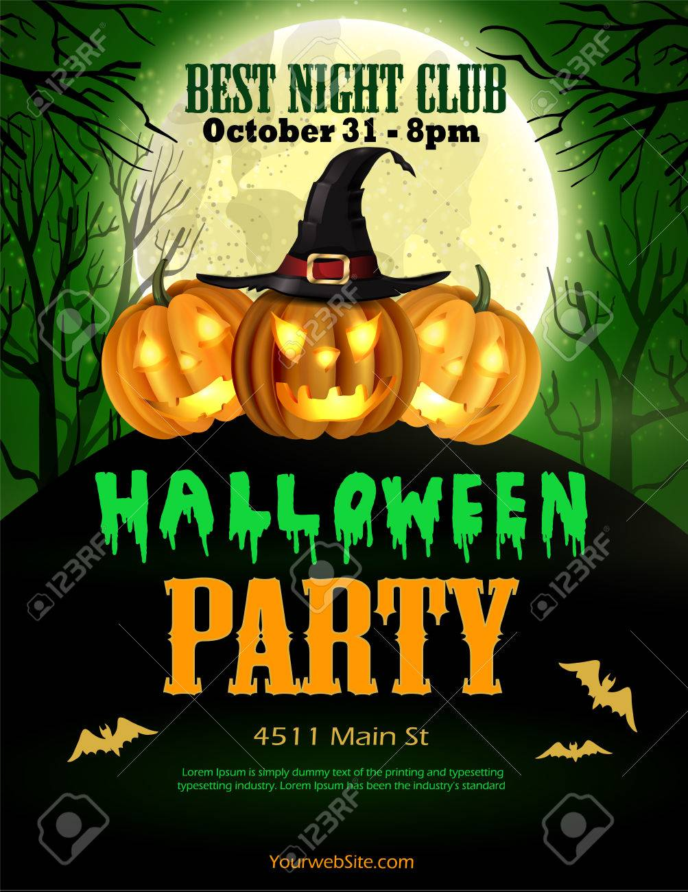 Halloween Party Flyer With Pumpkins, Hat, Bats Vector Royalty Free ...