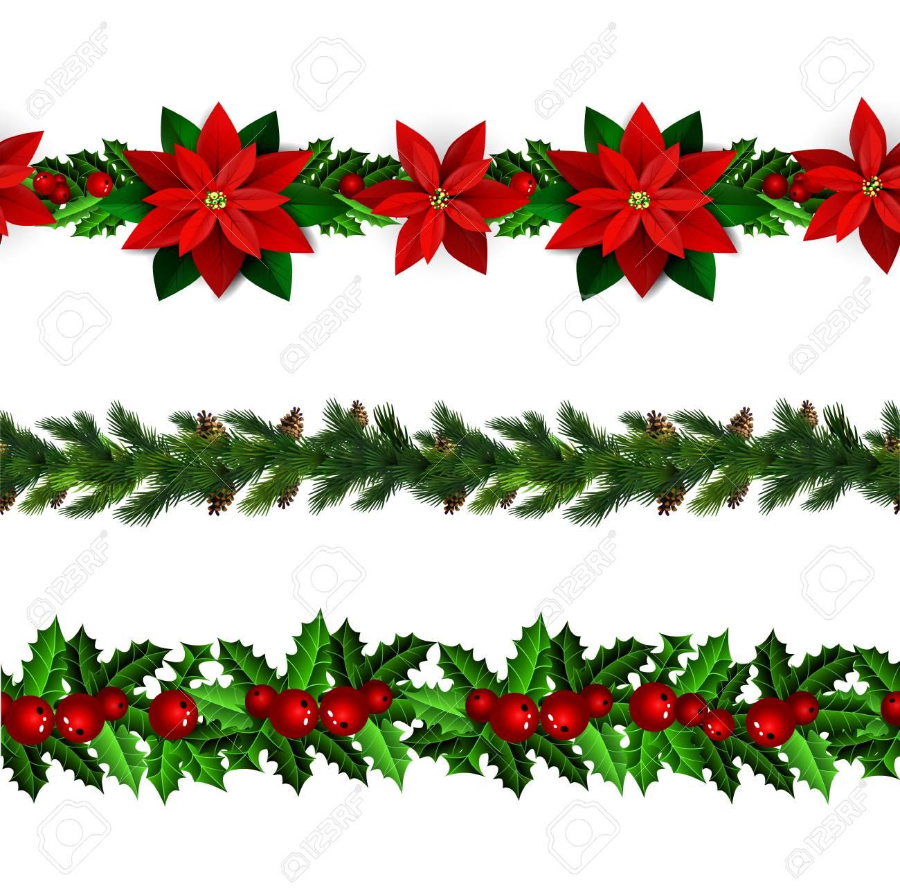 Christmas Boarders.Set Of N Seamless Christmas Borders