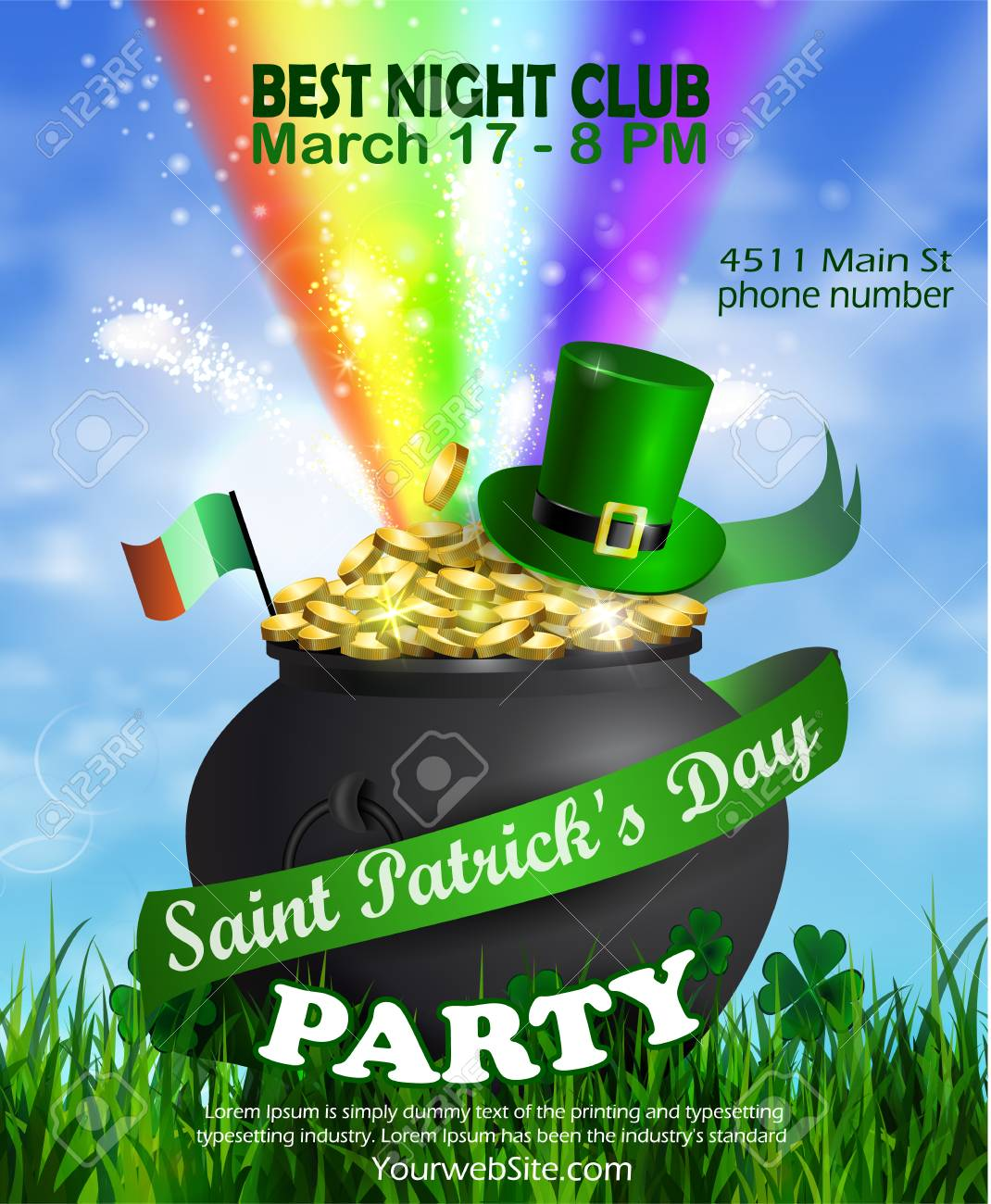 st patrick s day party poster or flyer template vector