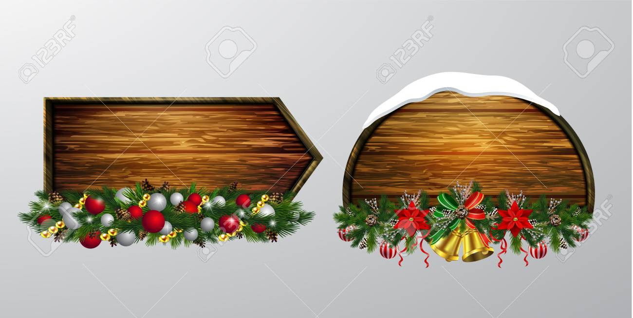 Vector Realistic Illustration Of Hanging Wooden Christmas Board Royalty Free Cliparts Vectors And Stock Illustration Image 127031613