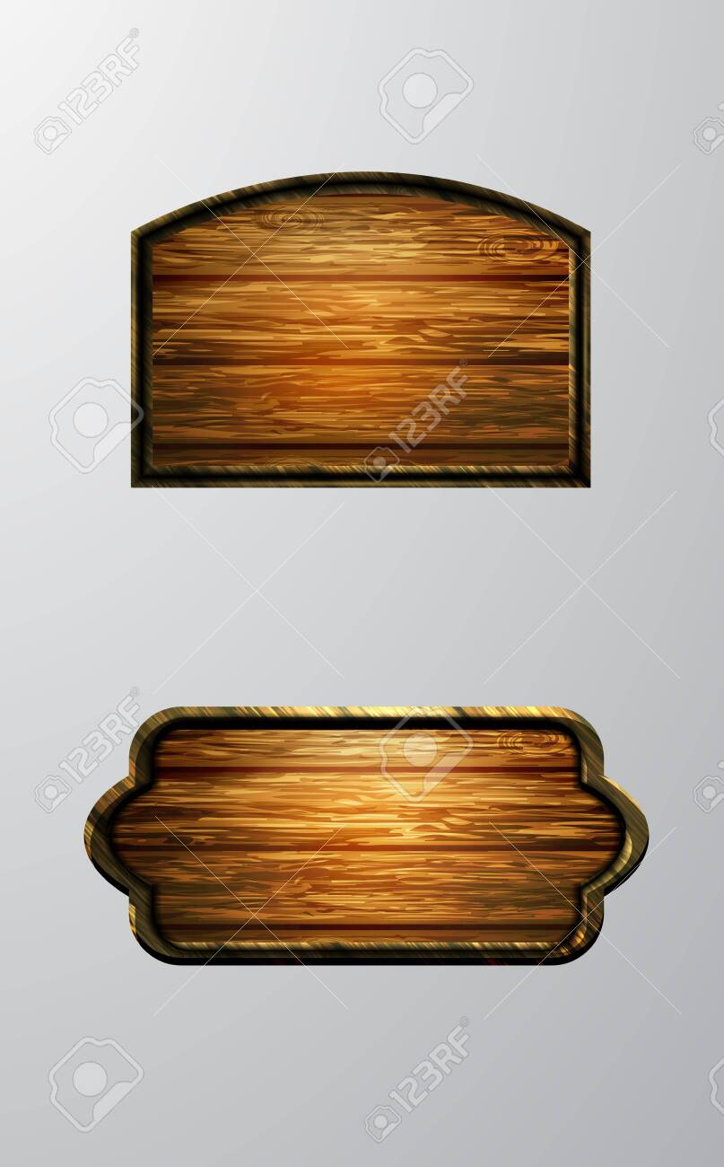 Vector realistic illustration of wooden signboard set isolated on white - 123885449