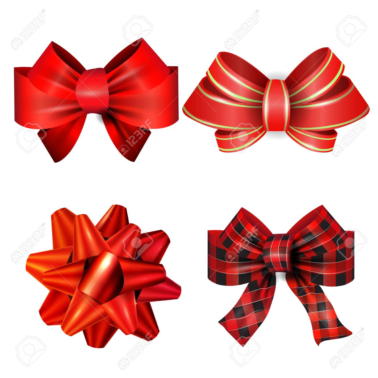 Big set of red gift bows with ribbons. Vector - 133489196