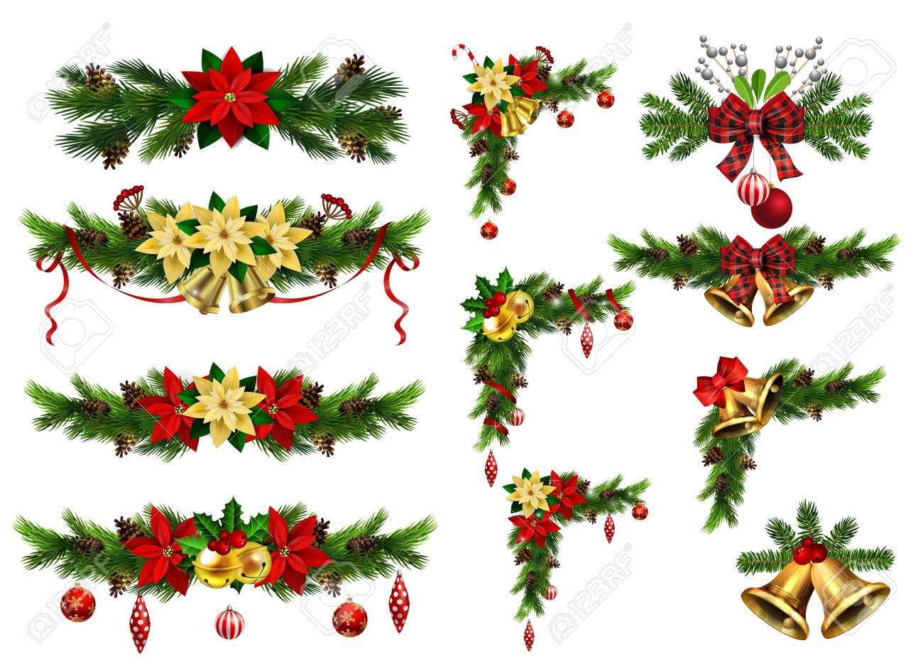 Christmas decorations with fir tree golden jingle bells - 134287312