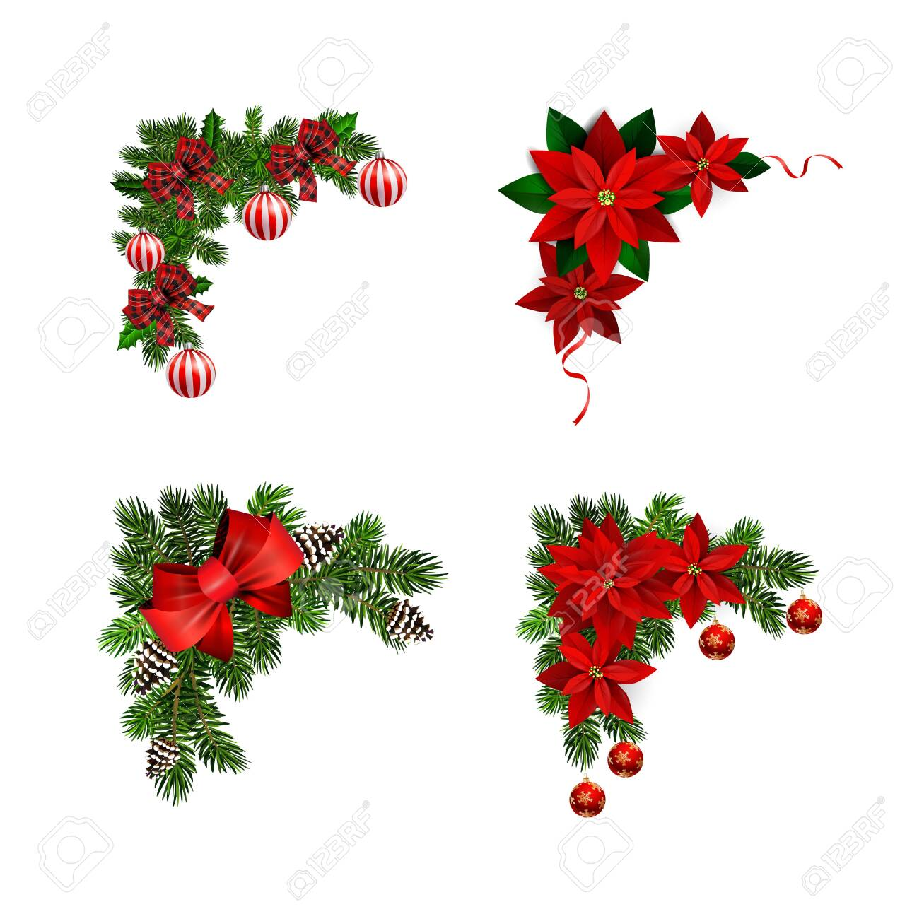 Christmas decorations with fir tree collection isolated - 134487281
