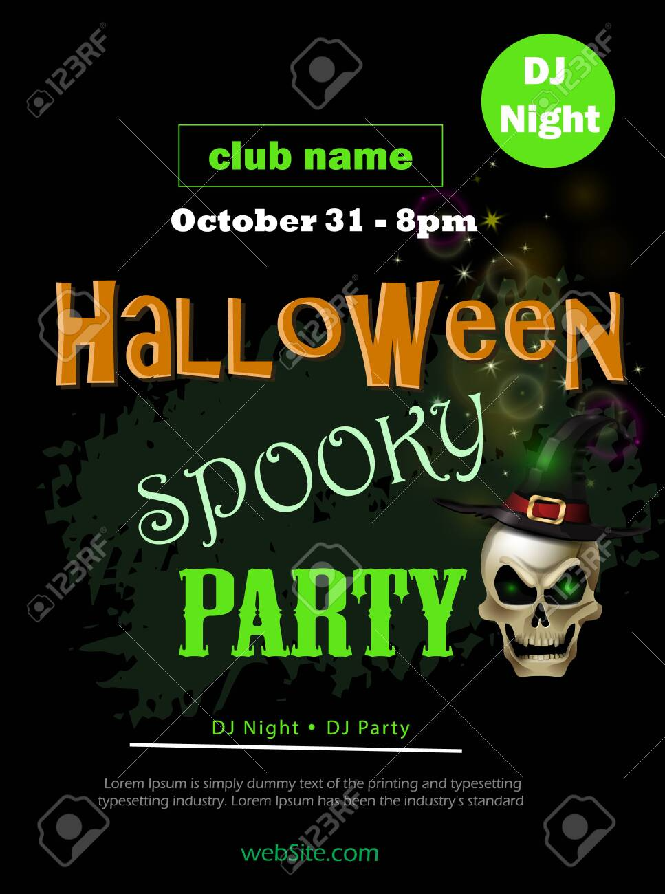 Halloween party flyer on black vector - 156251227