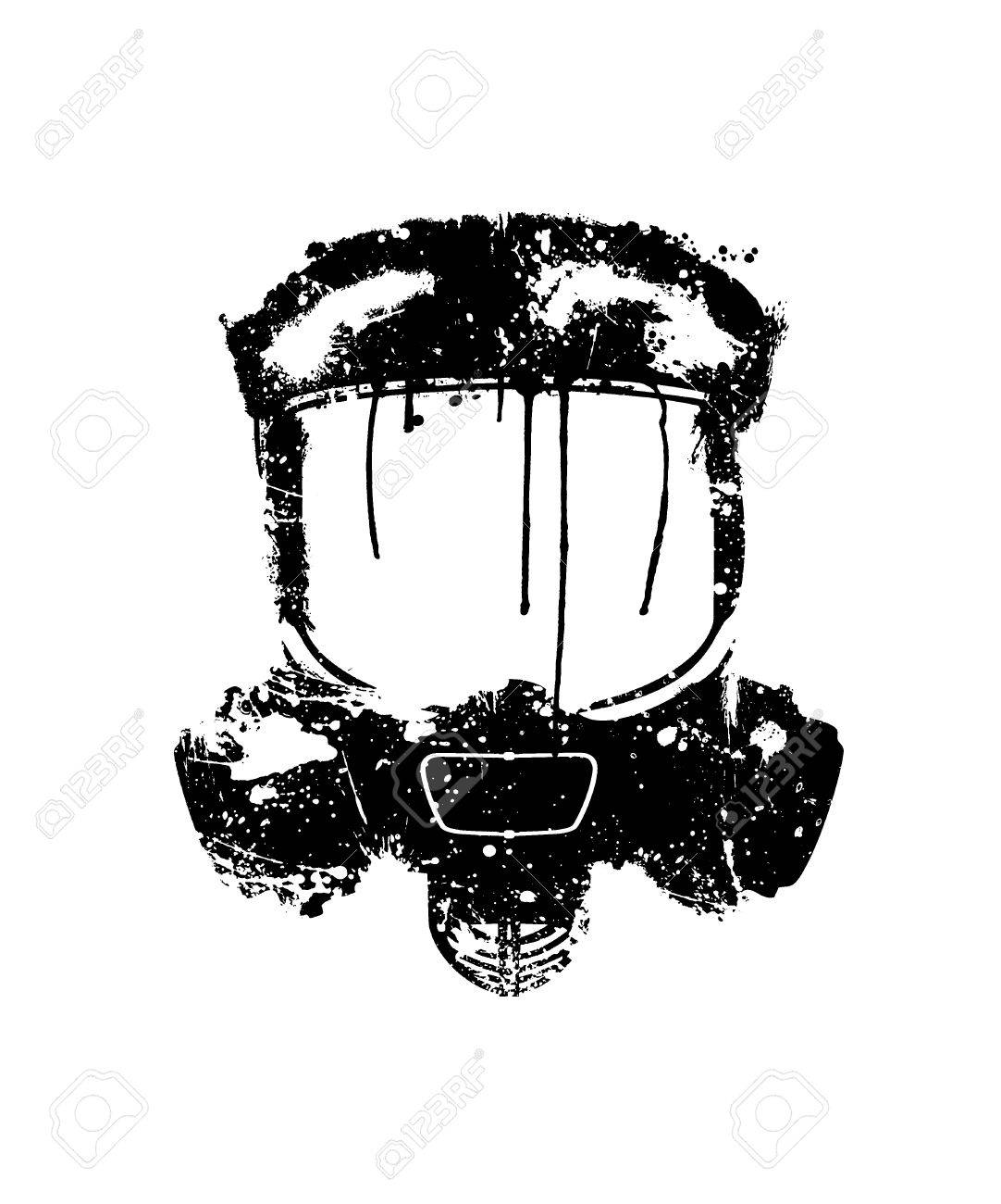 Gas mask painted in black on a white background Stock Photo - 20183737