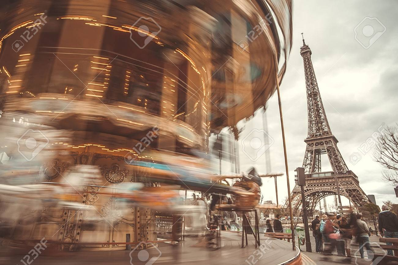 The Retro Carousel And The Eiffel Tower With A Retro Effect ...