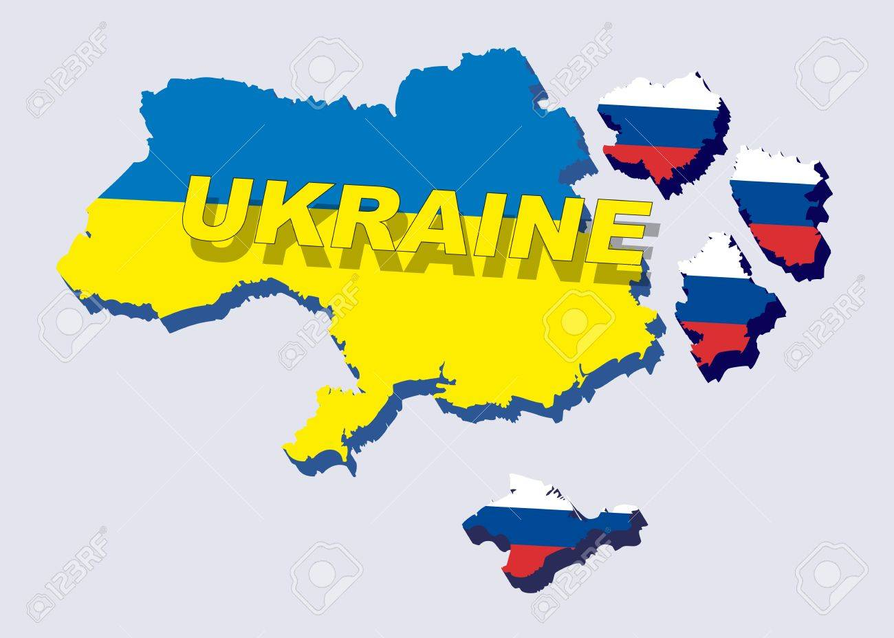 Separate into parts of Ukraine with russian flag. spring events 2014. The country is divided into regions. Vector illustration Stock Vector - 27360004
