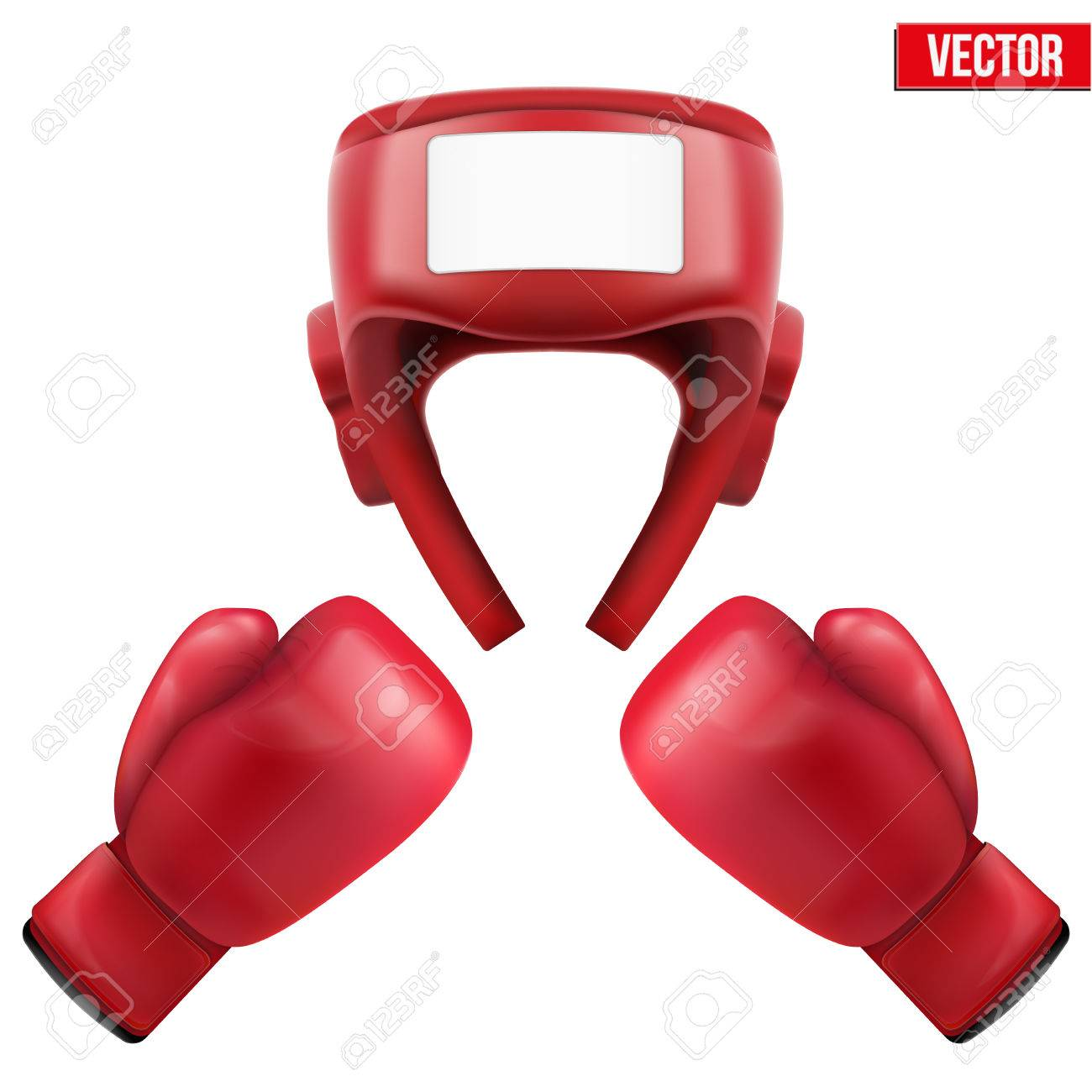 Boxing helmet and gloves  Sport goods, defense and equipment