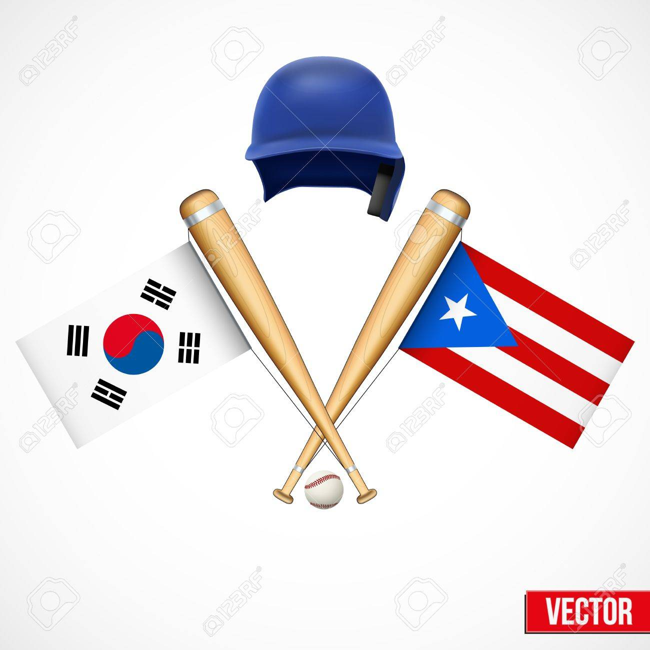 Symbols of baseball team south korea and puerto rico flags on symbols of baseball team south korea and puerto rico flags on bats vector illustration biocorpaavc Choice Image
