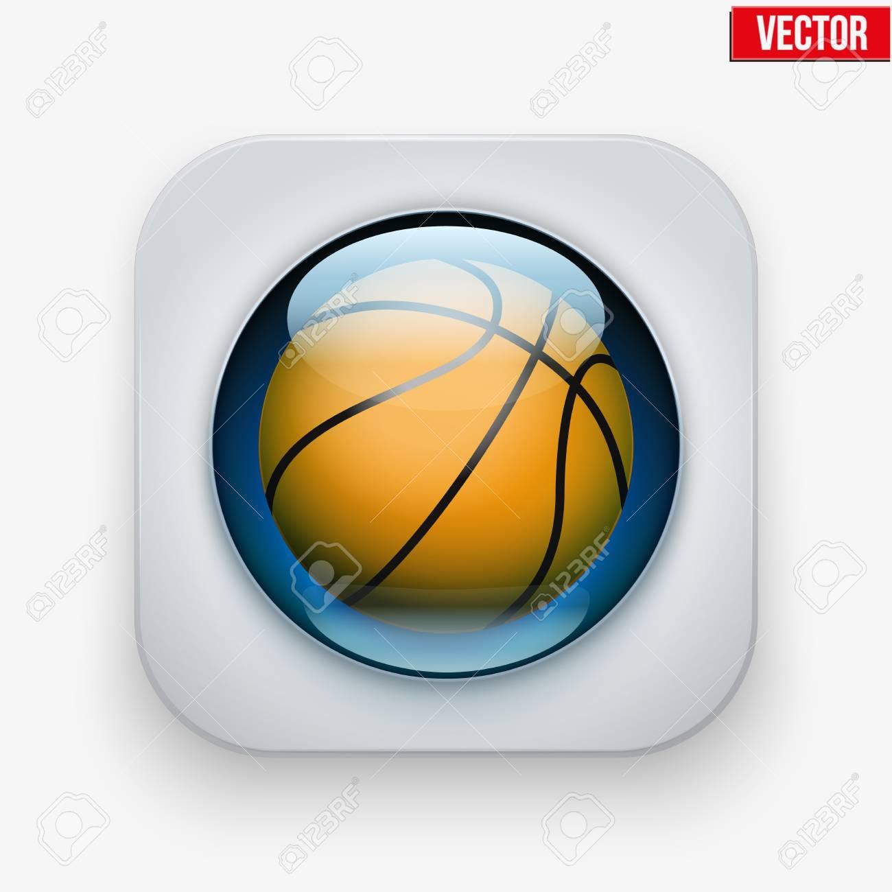 Botón de los deportes con pelota de baloncesto bajo el cristal transparente.  Iconos para un bda9299d674d4