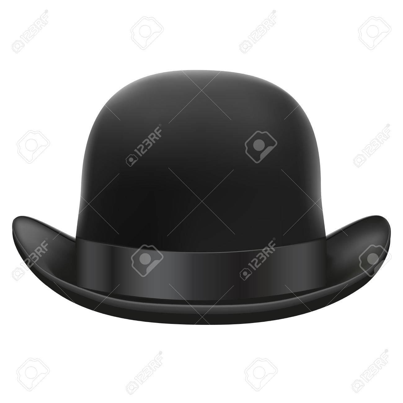4194e2a3f43 Black bowler hat with silk ribbon Isolated on white background Bitmap copy  Stock Photo - 29557740