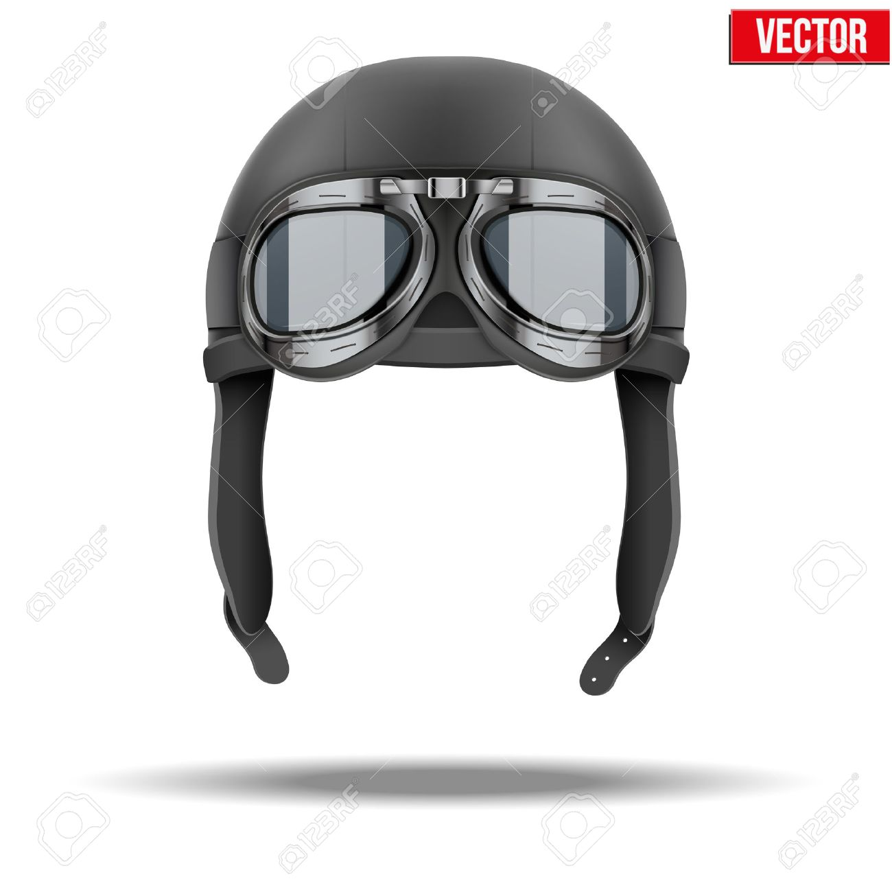 82bfc429d3 Retro aviator pilot leather helmet with goggles Vintage object Stock Vector  - 29779336