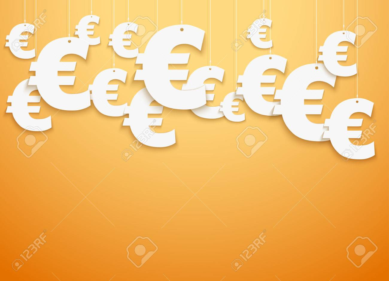 Bright Background Of Hung Symbols Euro With Space For Text