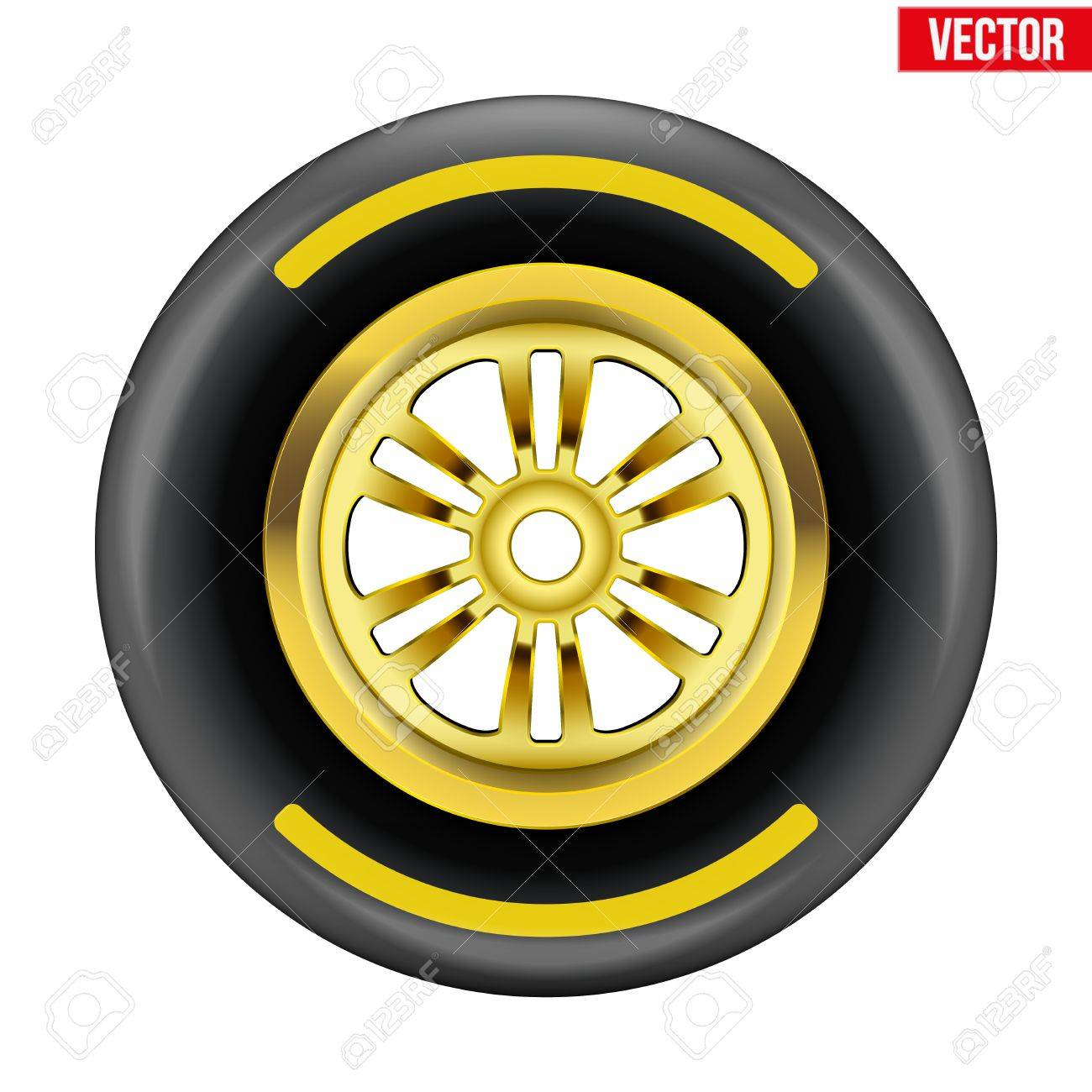 Race Wheel And Tire Symbol With Yellow Disk And Strip Vector ... for Racing Tire Vector  34eri