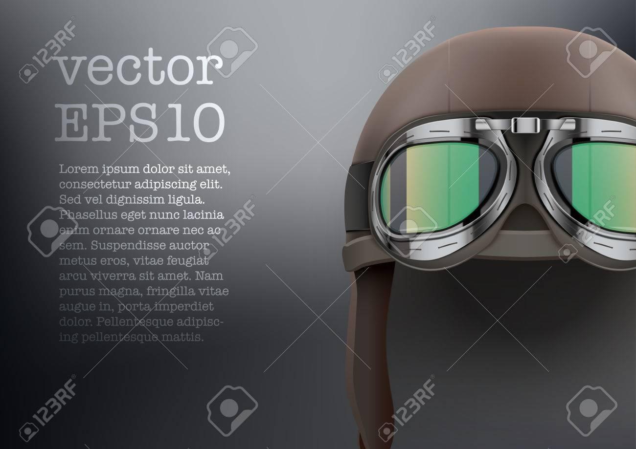 3b64c927b582b4 Achtergrond van Retro aviator piloot lederen helm met bril Vintage object vector  illustratie geïsoleerd op wit