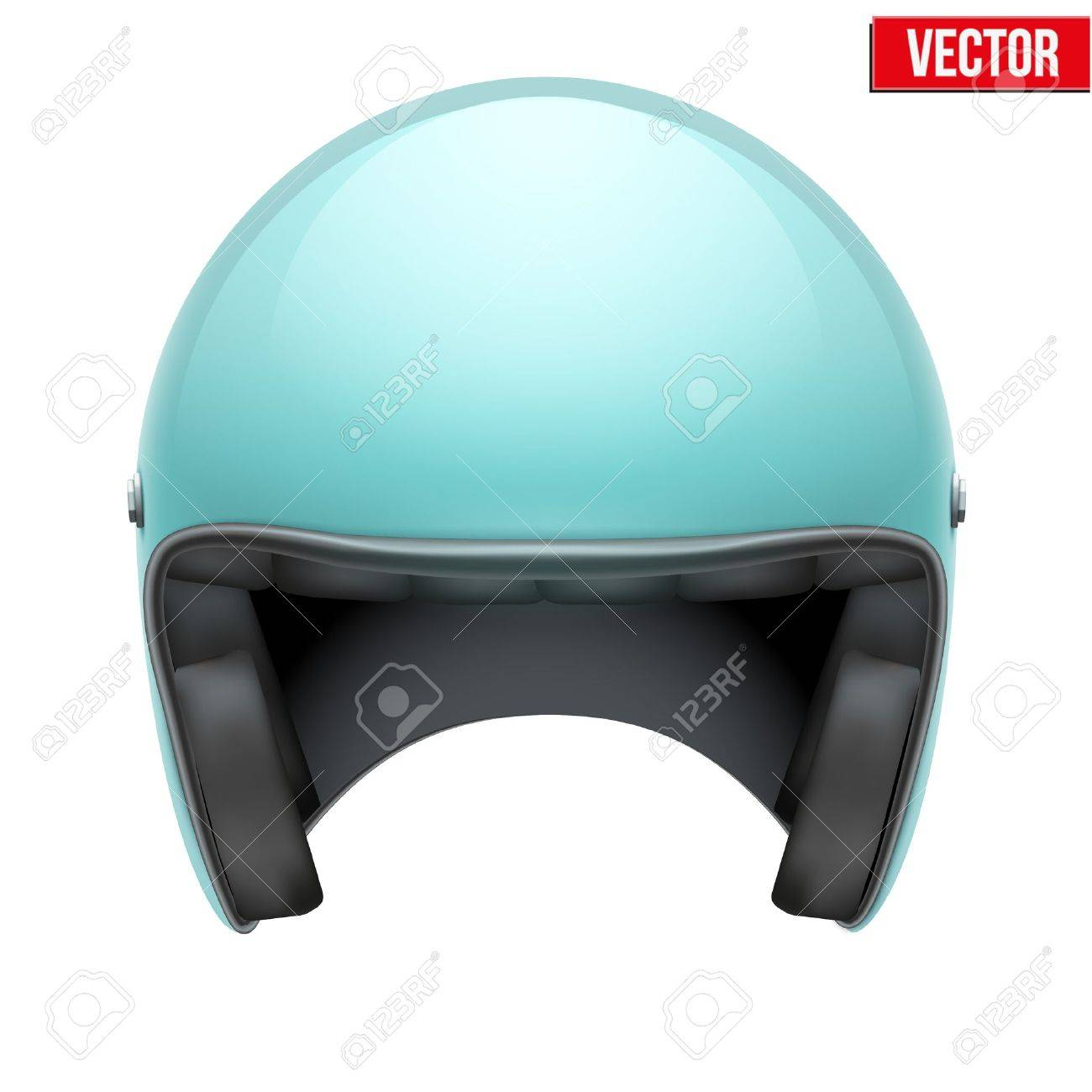 dad03c33d2 Vintage motorcycle scooter blue helmet Vector Illustration isolated on  white background Stock Vector - 30821959