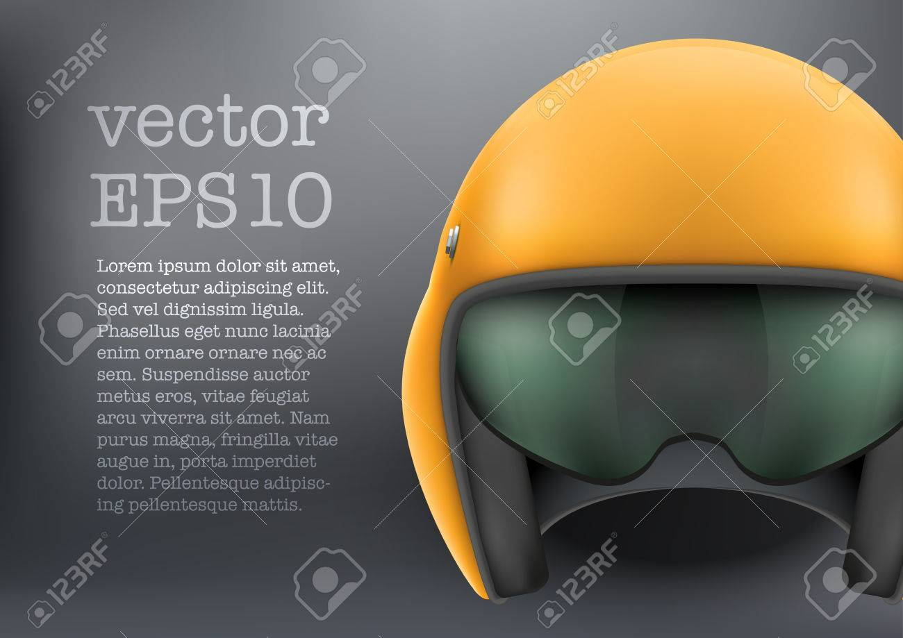 659f031607 Background of Military Orange Aircraft or motorsport marshall helmet. Help  of steward. Vector illustration